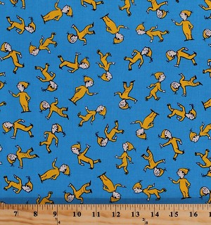 Cotton Oh The Places You'll Go Celebration Dr. Seuss Kids Children's Books Yellow Character Boy on Blue Cotton Fabric Print By the Yard (ade-13092-203)