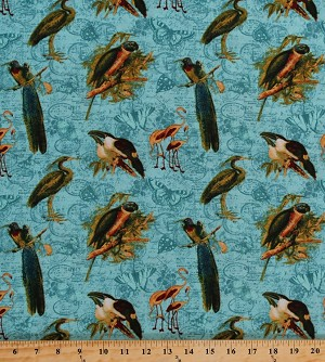 Cotton Exotic Birds Rainforest Rain Forest Parrots Herons Tropics Fowl Butterfly Butterflies Tropical Travelogue Travel Blue Postage Stamps Flowers Cotton Fabric Print by the Yard (1825-85537-474w)