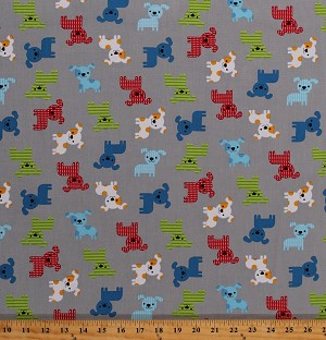 Cotton Colorful Dogs Puppy Puppies Canines Pets Stripes Polka Dots Multi-Colored Animals on Gray Urban Zoologie Kids Cotton Fabric Print by the Yard (AAK-16487-204-PRIMARY)