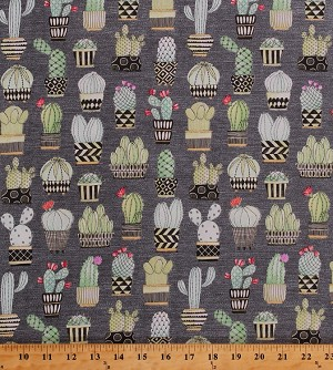Cotton Cactus Hoedown Cacti Saguaro Barrel Prickly Pear Cactus Succulents Potted Plants Desert Flowers Floral Gray Cotton Fabric Print by the Yard (CX7298-GRAY-D)