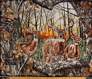 "35.5"" X 44"" Panel Realtree Daybreak Edge Whitetail Deer Bucks Sunrise Morning Woods Hunting Outdoors Cotton Fabric Panel (1167)"