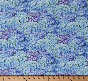 Cotton Hydrangea Birdsong Packed Hydrangeas Flowers Floral Garden Blue Purple Green Cotton Fabric Print by the Yard (1758-75)