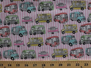 Cotton Fun Ice Cream Trucks Pink White Stripe Cotton Fabric Print by the Yard (5466d-6k)