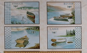 "23.5"" X 44"" Panel Boats Canoes Dragonfly Dragonflies Pond Lake River Stream Tranquility Scenic Picture Patches Cotton Fabric Panel (1649-26390-E)"