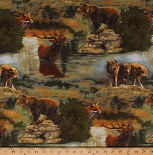 Cotton Wildlife Elk Bears Wolf Wolves Fox Foxes Northwoods Animals Nature Scenic Landscape Cotton Fabric Print by the Yard (ADV-16302-268NATURE)