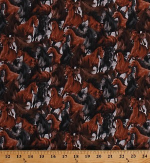 Cotton Horses Allover Stallion Mares Ranch Animals Farm Animals Equestrian Horseplay Cotton Fabric Print by the Yard (OA6012701)