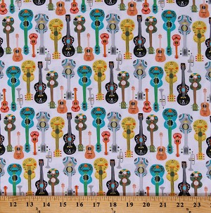 Cotton Guitars Trumpets Instruments Fiesta White Cotton Fabric Print by the Yard (51950-2)
