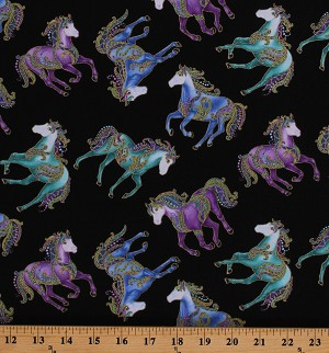 Cotton Horses Small Reigning Horsen' Around Gold Metallic Blue Purple on Black Cotton Fabric Print by the Yard (6858M-12)
