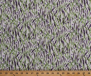 Cotton Sweet Lavender Flowers Floral Landscape Plants Botanical Spring Garden on Cream Cotton Fabric Print by the Yard (Y2649-57-Cream)