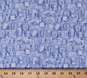 Cotton Ice Cubes Allover Blue White Man Cave Summer Cotton Fabric Print by the Yard (05502-55)