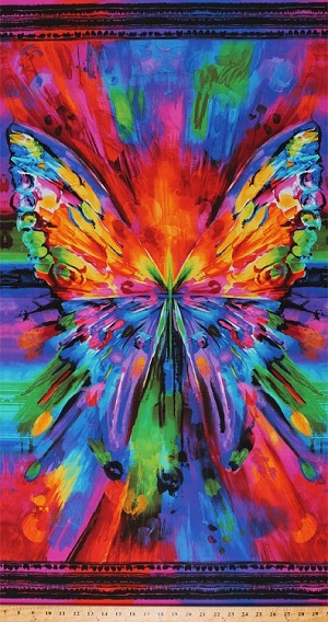 "23.5"" X 44"" Panel Butterfly Wings Insect Nature Awaken Bright Rainbow Multi-Colored Cotton Fabric Panel (AWAKEN-CD6550-BRIGHT)"