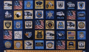 "23.5"" X 44"" Panel Police Badges Vehicles Cars Motorcycles Gear Cops Police Officers SWAT Law Enforcement Patriotic Protect & Serve Blue Cotton Fabric Panel (1649-26126-N)"