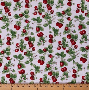 Cotton Strawberries with Leaves Strawberry Fruits Spring Flowers Blossoms on Off-White Country Spring Farmers' Market Cotton Fabric Print by the Yard (117565-RH-2OFFWHITE)