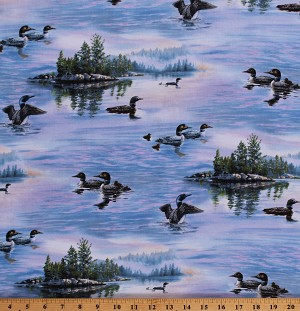 Cotton Loons on Lake Birds Northwoods Wildlife Nature Landscape Sunrise Scenic Cotton Fabric Print by the Yard (8910BLUE)