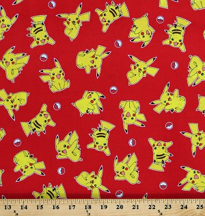Cotton Pokemon Pikachu Poke Balls Video Games Characters on Red Cotton Fabric Print by the Yard (AOP-17720-3RED)