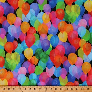 Cotton Balloons Party Parties Celebrations Cue the Confetti Multicolor Cotton Fabric Print by the Yard (S4789-130-MULTI)