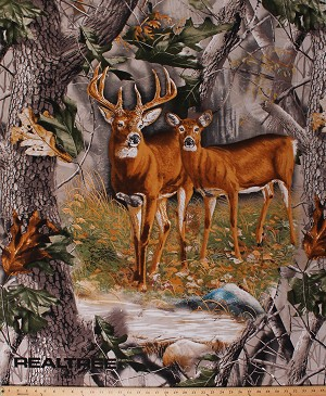 "36"" X 44"" Panel Realtree Deer Buck and Doe Wild Animals Wildlife Woodland Nature Hunting Country Scenic Landscape Cotton Fabric Panel (9903)"