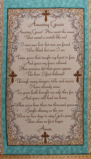 "23.5"" X 44"" Panel Amazing Grace Song Lyrics Verses Phrases Sayings Words Fonts Calligraphy Crosses Cross Faith Blue Brown Cotton Fabric Panel (1649-24028-E)"