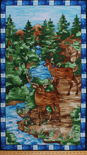 "24.75"" X 44"" Panel Deer Animals Wildlife Nature Scenery Scenic Landscape Mosaic Forest Stained Glass Look Cotton Fabric Panel (4190P 77)"