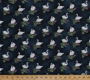 Cotton Odette White Swans Birds Water Lilies Midnight Blue Cotton Fabric Print by the Yard (cx7284-midn-d)