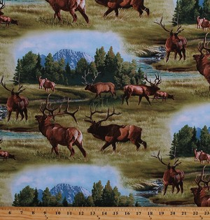 Cotton Elk Herd Landscape Mountains Trees Animals Nature Northwoods North American Wildlife Scenic Cotton Fabric Print by the Yard (5010GREEN)