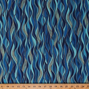 Cotton Dancing Waves Ripples Azure Blue Gold Metallic Shimmer Dance of the Dragonfly Coordinate Landscape Cotton Fabric Print by the Yard (8503M-84)