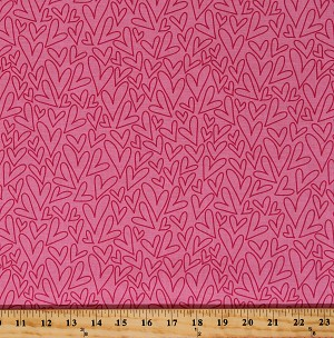 Cotton Hearts Love Valentine's Day Sending Love Pink Cotton Fabric Print by the Yard (C10082-PINK)