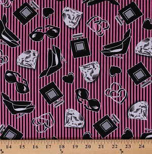 Cotton Hearts Diamonds Shoes High Heels Retro Stripes Fashion Smooches Glam Pink Black Vintage Cotton Fabric Print by the Yard (05269-22)