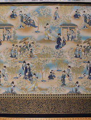 Cotton Japanese Women Geishas in Garden Flowers Floral Trees Imperial Collection Metallic Gold Cotton Fabric Print by the Yard (AHYM-188621-62INDIGO)
