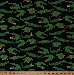 Cotton Crocodies Alligators Wearing Sunglasses Animals Rockin Crocs Reef Madness Cotton Fabric Print by the Yard (06505-12)