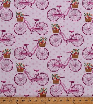 Cotton Bikes Bicycles in Meadow Baskets of Flowers Floral Transportation Summer Scenic Landscape Farmer's Market Pink Vintage Cotton Fabric Print by the Yard (CX7313-PINK-D)