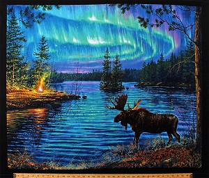 "35"" X 44"" Panel Moose Northern Lights Northwoods Landscape Campfire Aurora Borealis Camping Lake Nature Scenic Cotton Fabric Panel (9600BLACK)"