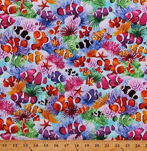 Cotton Clownfishes Corals Reefs Colorful Aquatic Underwater All Over Sea Ocean Cotton Fabric Print by the Yard (SEA-C7958-MULTI)