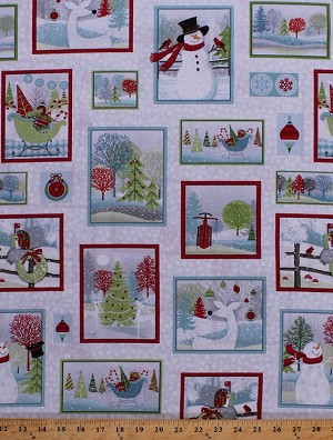 Cotton Christmas Scenes Squares Rectangles Frames Snowman Snowmen Reindeer Santa's Sleigh Ornaments Decorations Mailboxes Christmas Trees Snowflakes Holly Leaves Berries Berry Festive Holiday Cheer White Cotton Fabric Print by the Yard (9689-9)