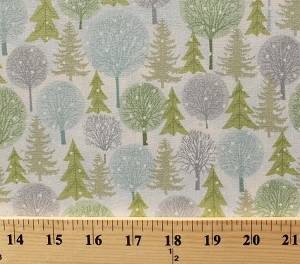 Cotton Winter Trees Pine Trees Green Blue Gray Christmas Trees Snow Snowing Holiday Cheer Cotton Fabric Print by the Yard (9686-1)