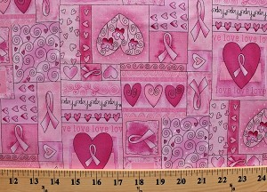 Cotton Breast Cancer Ribbon Hearts Love Happy Pink Cotton Fabric Print by the Yard (gail-c1766) D763.44