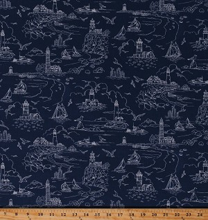 Cotton Lighthouses Ocean Seaside Seashore Nautical Birds The Lightkeeper's Quilt Cotton Fabric Print by the Yard (5014-77)