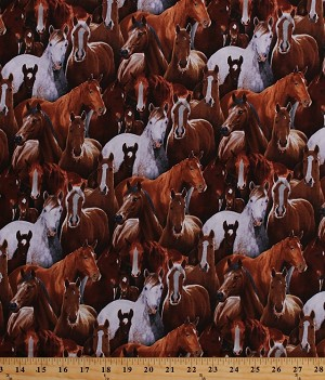 Cotton Horses Packed Farm Animals Brown Cotton Fabric Print by the Yard (433-black)