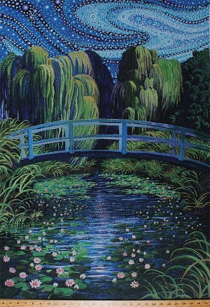 29 X 44 Panel Water Garden Water Lilies Lily Lotus Flowers Pond