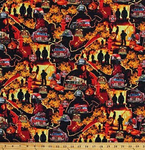 Cotton Firefighters Firemen Fire Trucks Fire Department Badges Equipment Heroes Flames Under Fire Cotton Fabric Print by the Yard (580RED)