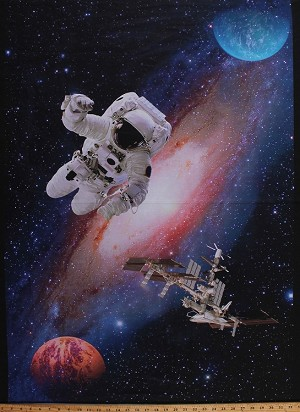 "31"" X 44"" Panel Astronaut Outer Space Spacecraft Planets Spaceman Satellite Space Station Galaxy Stars Interstellar Digital Print Cotton Fabric Panel (51005DP-X)"
