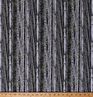Cotton Landscape Birches Birch Trees Woods Forest Nature Northwoods Reluctant Companion Cotton Fabric Print by the Yard (49472-A620715P)