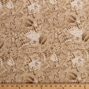 Cotton Textured Earth Ground Forest Floor Animal Tracks Footprints Hunting Landscape The Great Outdoors Cotton Fabric Print by the Yard (43308-4)