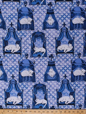 Cotton We Are Not Amewsed Spoiled Cats Royal Luxury Cat Beds Blue Fleur de Lis Cotton Fabric Print by the Yard (cx6296-blue-d)