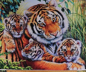35.25' X 44' Panel Tigers Mama Tiger and Cubs Jungle Animals Wildlife Lily's Pride Cotton Fabric Panel (AL-3527-7C-1MULTI)