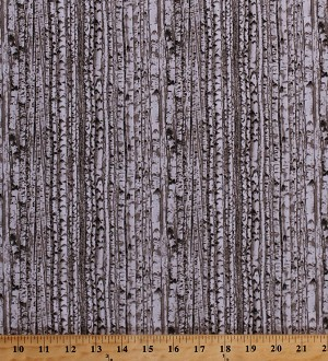 Cotton Landscape Medley Birch Trees Aspen Woods Forest Gray Cotton Fabric Print by the Yard (371-gray)