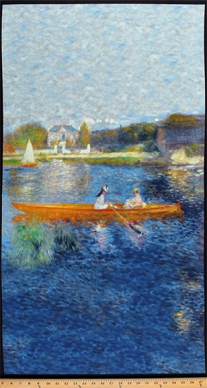 "23.5"" X 44"" Panel Renoir The Skiff La Yole Pierre Auguste Renoir Boats Boating River Seine Painting-Look Art Romantic Impressionism Digital Print Cotton Fabric Panel (SRKD-17874-246WATER)"