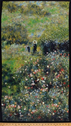 "23.5"" X 44"" Panel Renoir Flowers Woman with a Parasol in a Garden Pierre Auguste Renoir Painting-Look Art Impressionism Floral Grass Green Digital Print Cotton Fabric Panel (SRKD-17867-238GARDEN)"