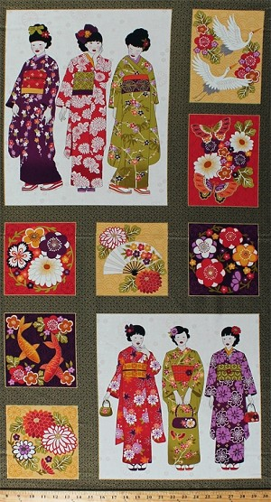 "23.5"" X 44"" Panel Asian Japanese Women Ladies Geishas Flowers Floral Fans Cranes Koi Fish Oriental Blocks on Black and Gold Metallic Kimono Cotton Fabric Panel (TP-2051-1)"
