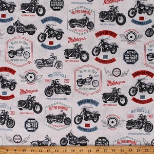 Cotton Retro Motorcycle Vintage Bikes Classic Born to Race White Cotton Fabric Print by the Yard (52240-1)